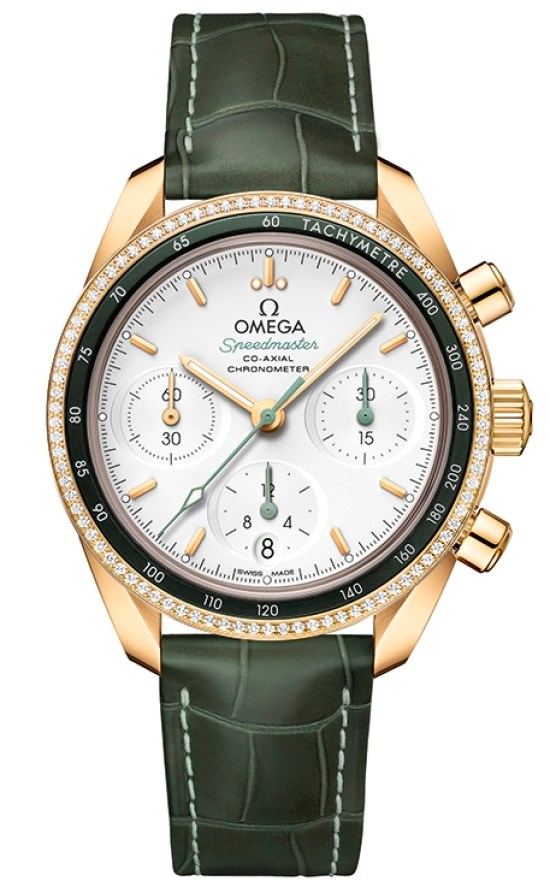 OMEGA Speedmaster 38 Co‑Axial Chronograph 38 mm, Ref. 324.68.38.50.02.004: Yellow gold model with opaline silvery dial, green leather strap and diamond set bezel