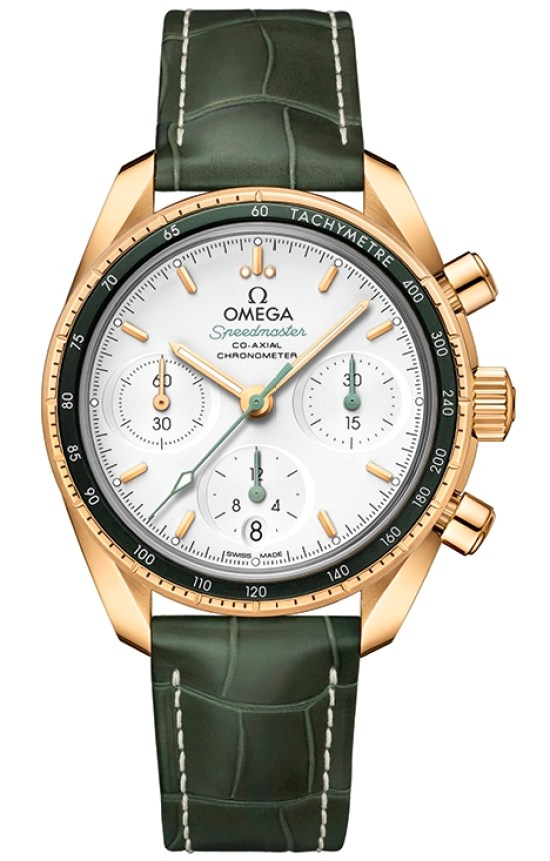 OMEGA Speedmaster 38 Co‑Axial Chronograph 38 mm, Ref. 324.63.38.50.02.004: Yellow gold model with opaline silvery dial and green leather strap