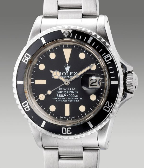 Rolex Reference 1680 from 1977, stainless steel diver's wristwatch retailed by Tiffany & Co. Estimate: HKD 160,000-320,000