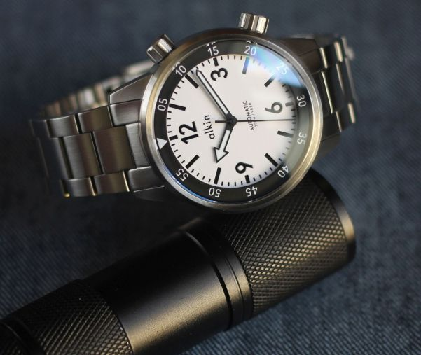 ALKIN MODEL TWO automatic dive watch with dual crown compressor case
