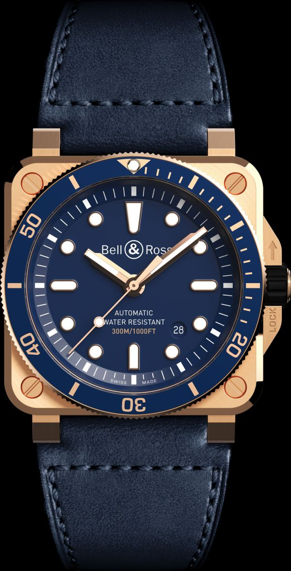 Bell & Ross BR03-92 Diver Blue Bronze Limited Edition watch with leather strap