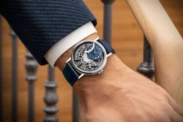 Breguet Tradition Automatique Seconde Rétrograde 7097 Boutique Edition (With White Gold Case and Blue Colored Guilloche Dial)