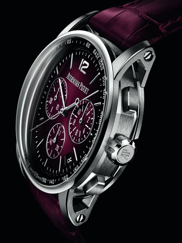 Code 11.59 by Audemars Piguet Self-winding Chronograph 18-carat white gold case Smoked burgundy lacquered dial with sunburst pattern