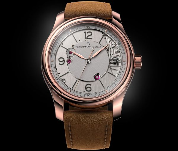 Petermann Bédat 1967 hand-wound watch with dead beat seconds rose gold version