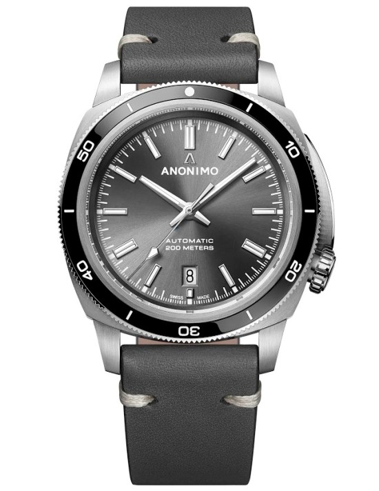 ANONIMO New NAUTILO Vintage collection, AM-5019.09.101.I01:  Stainless steel case, Sunray anthracite dial, Barenia anthracite calf leather strap