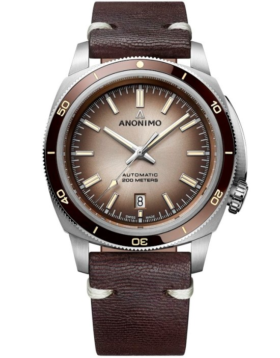 ANONIMO New NAUTILO Vintage collection, AM-5019.17.105.I02: Stainless steel case, Sunray gradient chocolate dial, Chocolate kangaroo leather strap