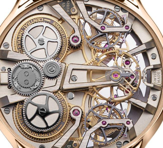 Bernhard Lederer Central Impulse Chronometer rose gold caseback Central Impulse Chronometer escapement