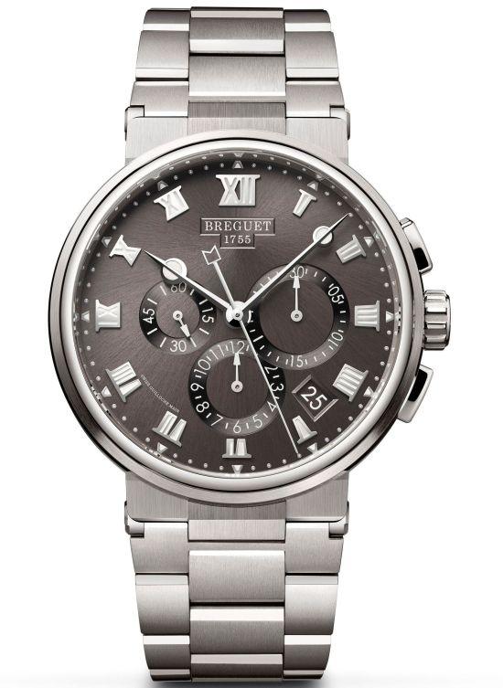 Breguet Marine Chronographe 5527 REF. 5527TI/G2/TW0 (Titanium Case, Sunburst slate-gray dial and Titanium Bracelet)