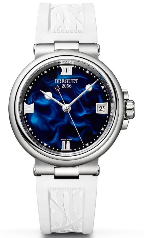 Model: Breguet Marine Dame 9517, Reference 9517ST/E2/584 (Steel Case, Blue Lacquer Dial and Rubber strap)