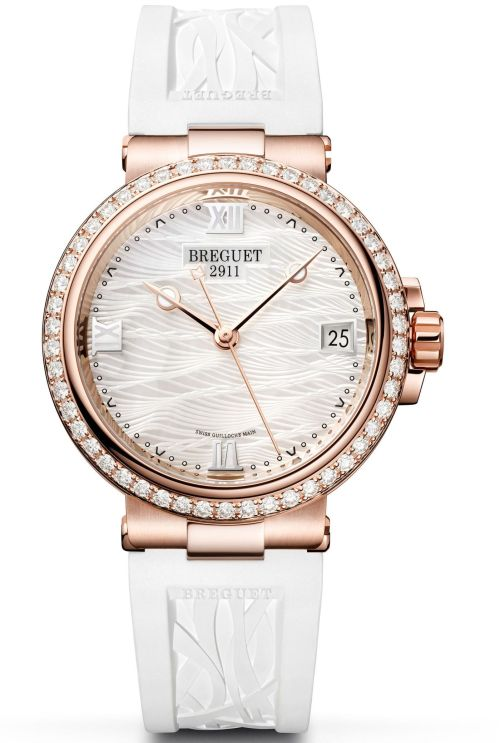 Model: Breguet Marine Dame 9517, Ref. 9517ST/5W/584 (Steel Case, White mother-of-pearl Dial and Rubber strap)