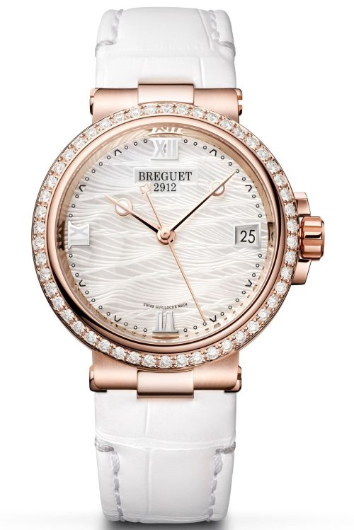 Model: Breguet Marine Dame 9518 REF. 9518BR/52/984 D000 (18 Carat Rose-Gold Case, White mother-of-pearl engine-turned dial and Leather strap)