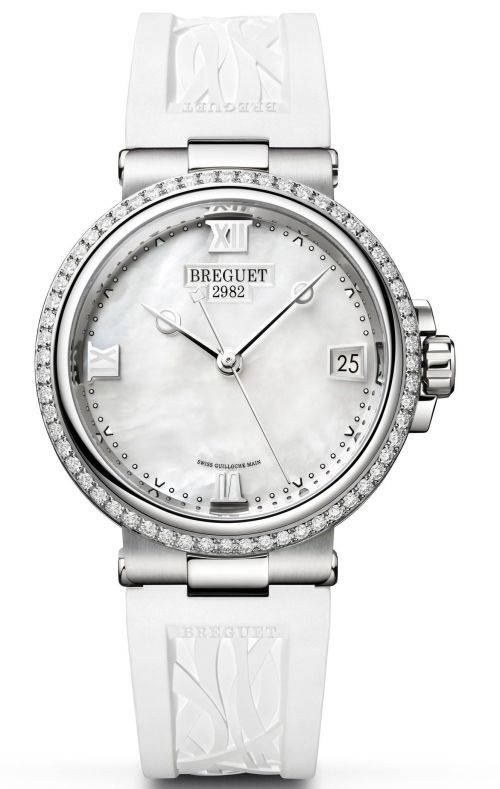 Model: Breguet Marine Dame 9518, Reference 9518ST/5W/584 D000, Steel Case, White mother-of-pearl dial and Rubber strap