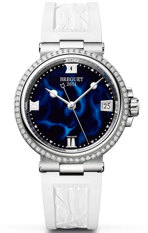 Model: Breguet Marine Dame 9518, Reference 9518ST/E2/584 D000, Steel Case, Blue lacquer dial and Rubber strap