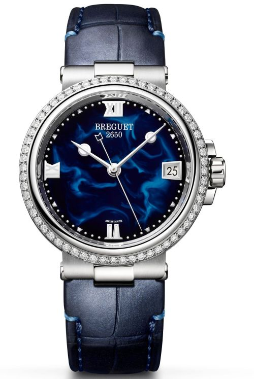 Model: Breguet Marine Dame 9518, Reference 9518ST/E2/984 D000, Steel Case, Blue lacquer dial and Leather strap