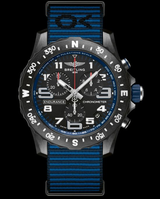 Breitling Endurance Pro with a blue inner bezel and Outerknown ECONYL® yarn NATO strap