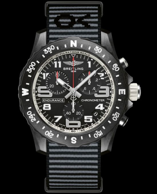 Breitling Endurance Pro with a white inner bezel and Outerknown ECONYL® yarn NATO strap