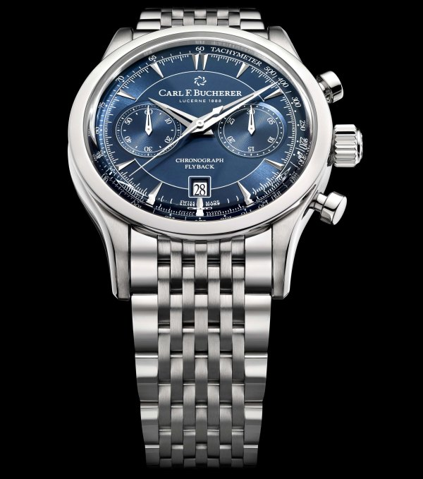 Carl F. Bucherer Manero Flyback New Blue Dial Models with Stainless Steel Bracelet/ Blue Textile Strap