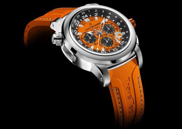 "Carl F. Bucherer Patravi Traveltec Color Edition Four Seasons ""Autumn"" Ref. 00.10620.08.93.03 Stainless steel, orange dial, rubber"