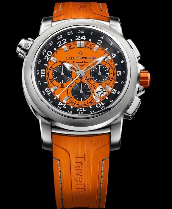 Carl F. Bucherer Patravi Traveltec Color Edition Four Seasons Ref. 00.10620.08.93.03 Stainless steel, orange dial, rubber