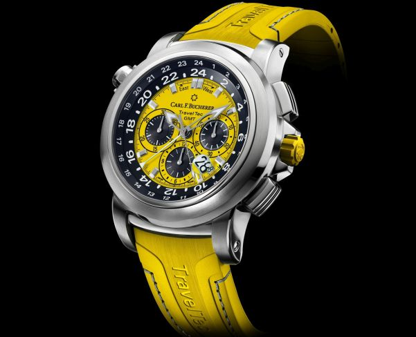 """Carl F. Bucherer Patravi Traveltec Color Edition Four Seasons """"Summer"""" Ref. 00.10620.08.93.01 Stainless steel, yellow dial, rubber"""