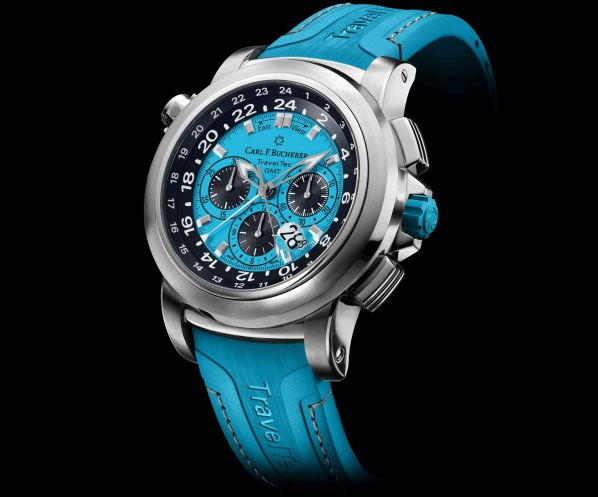 """Carl F. Bucherer Patravi Traveltec Color Edition Four Seasons """"Winter"""" Ref. 00.10620.08.53.02 Stainless steel, blue dial, rubber"""