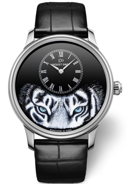Jaquet Droz Petite Heure Minute Tiger 18-karat white gold case with Black Grand Feu enamel dial with miniature painting