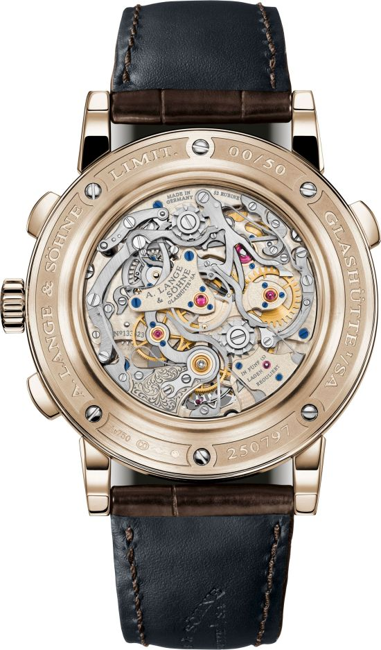 """A. Lange & Söhne """"Homage to F. A. Lange"""" Special Edition Honey Gold Series: the TOURBOGRAPH PERPETUAL HONEYGOLD caseback"""