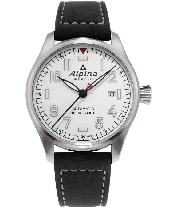 Alpina Startimer Pilot Automatic 40 mm AL-525S3S6 white dial