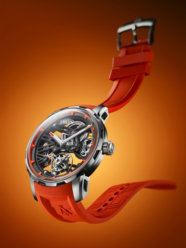 Angelus U41 titanium manual wound skeleton watch with flying tourbillon