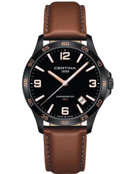 Certina DS-8 Black dial, black PVD case, leather strap