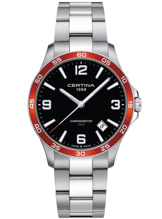 Certina DS-8 Black dial, red bezel, stainless steel case and bracelet