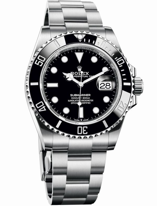 Oyster Perpetual Submariner Date in Oystersteel with a Black Cerachrom bezel and a black dial (Reference 126610LN)