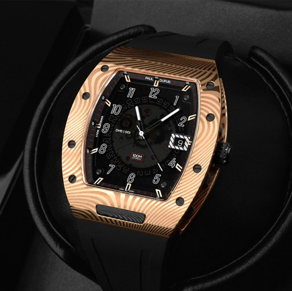 The Paul Dupuis DMS|001 watch with Rose Gold Damascus Steel Case