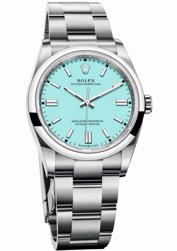 Rolex Oyster Perpetual 36 with Turquoise blue lacquer dial