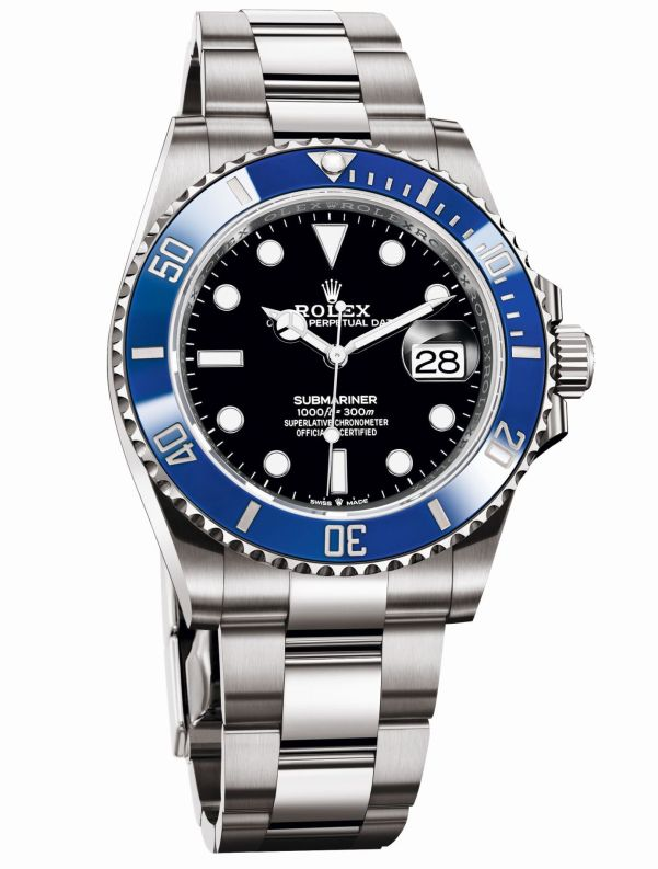 Rolex Oyster Perpetual Submariner Date in 18 ct White gold with a Blue Cerachrom bezel and a Black dial, 41mm, Reference 126619LB