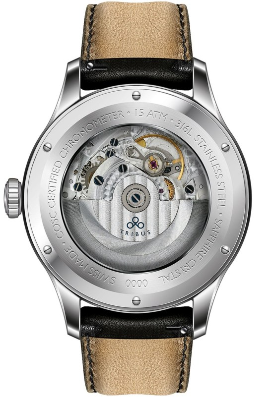 TRIBUS TRI-01 Small Second COSC watch caseback view