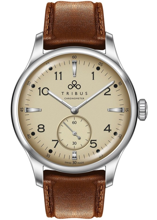 TRIBUS TRI-01 Small Second COSC watch with cream dial