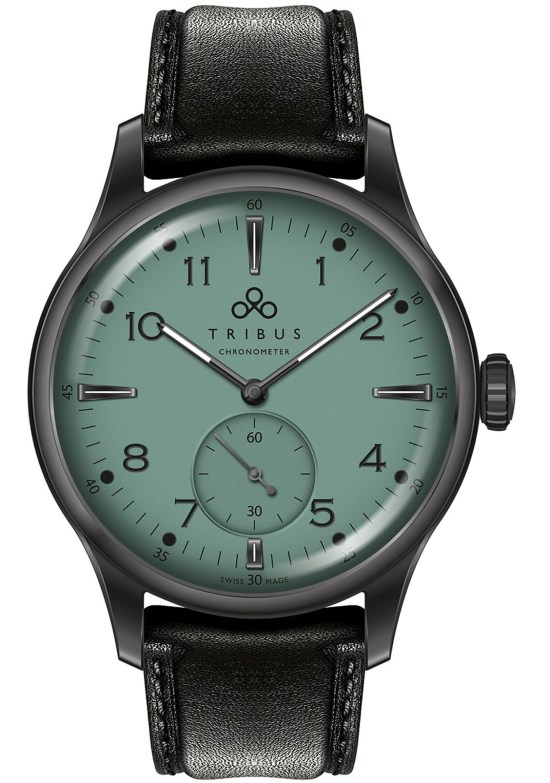 TRIBUS TRI-01 Small Second COSC watch with teal dial