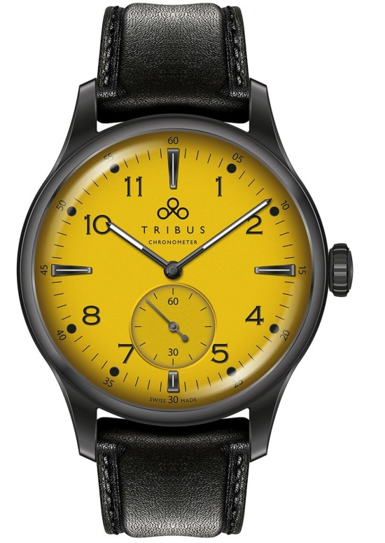 TRIBUS TRI-01 Small Second COSC watch with yellow dial