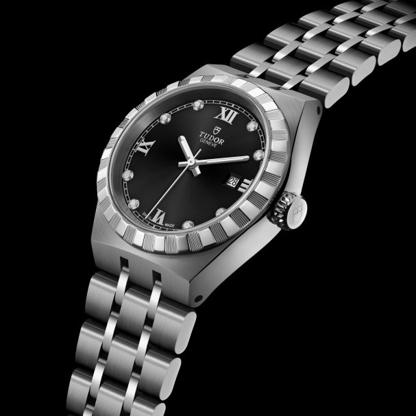 TUDOR ROYAL 28 mm, Ref. M28300-0004: Stainless steel case and bracelet, Black dial with diamond hour markers + Roman Numerals for 3, 6, 9 and 12