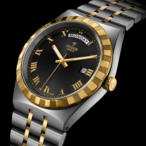 TUDOR ROYAL 41mm, Ref. M28603-0003: Stainless steel case, yellow gold bezel, steel and yellow gold bracelet, Black dial with Roman Numerals