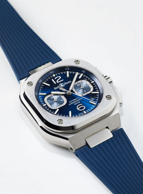 Bell & Ross BR 05 Chronograph with blue dial and blue rubber strap