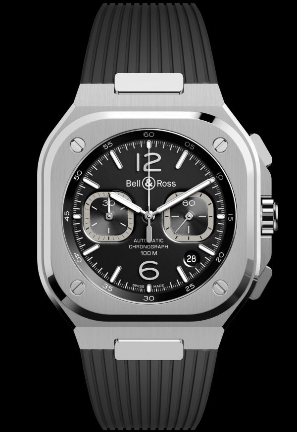 Bell & Ross BR 05 Chronograph new model 2020 black dial and black rubber strap