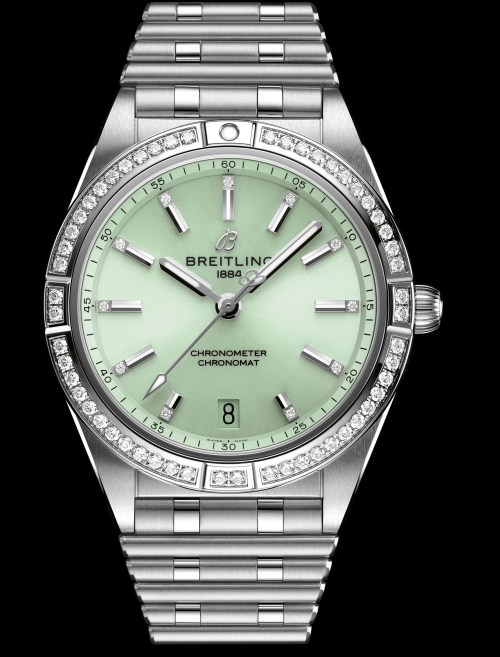 Breitling chronomat-automatic-36-with-a-pale-green-dial-diamond-hour-markers-and-diamond-set-bezel_ref.-a10380591l1a1