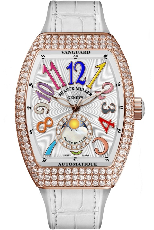 Franck Muller Vanguard™ Lady Moonphase watch diamond rose gold case