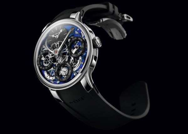 MB&F Legacy Machine Perpetual EVO watch with blue dial plate