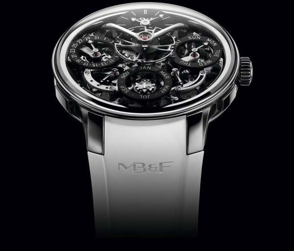 MB&F Legacy Machine Perpetual EVO with black dial plate and white strap