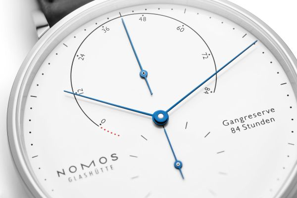 NOMOS Glashütte Lambda in Stainless Steel Limited Edition watch power reserve indicator