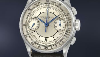 Patek Philippe Reference 130 in steel with sector dial(estimate CHF 250,000-450,000)