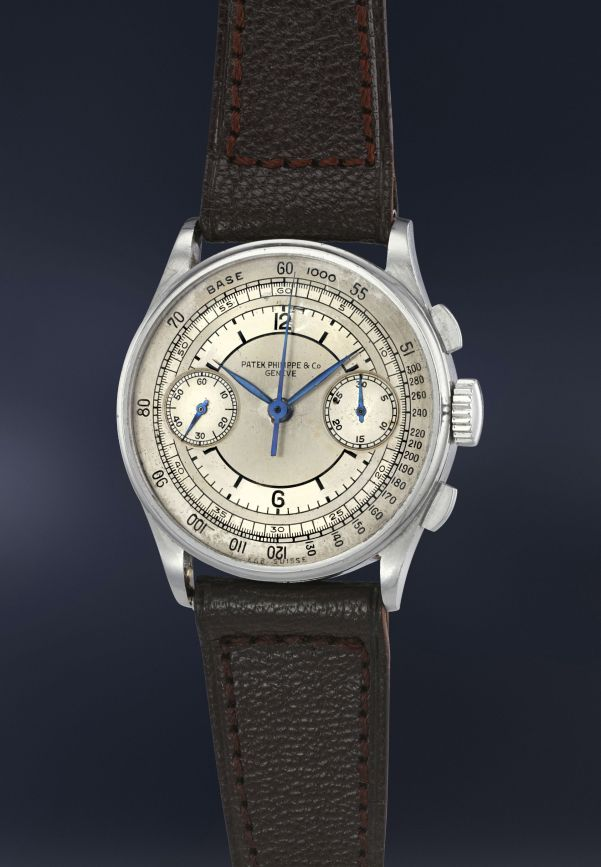 Patek Philippe Reference 130 in steel with sector dial (estimate CHF 250,000-450,000)